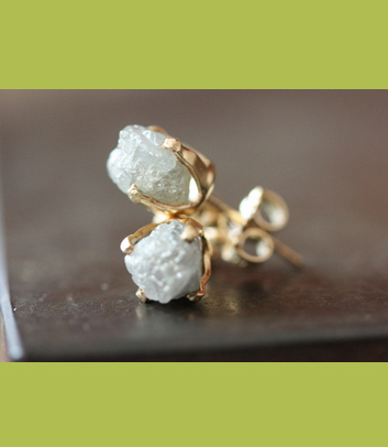 Alexis Russell rough diamond earrings
