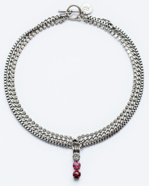 Rebekah Price Ruby, Rose and Clear Crystal Necklace