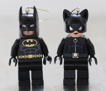 Batman and Catwoman earrings