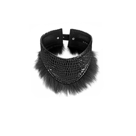Vawk Lizard Embossed Collar with Fox Fur