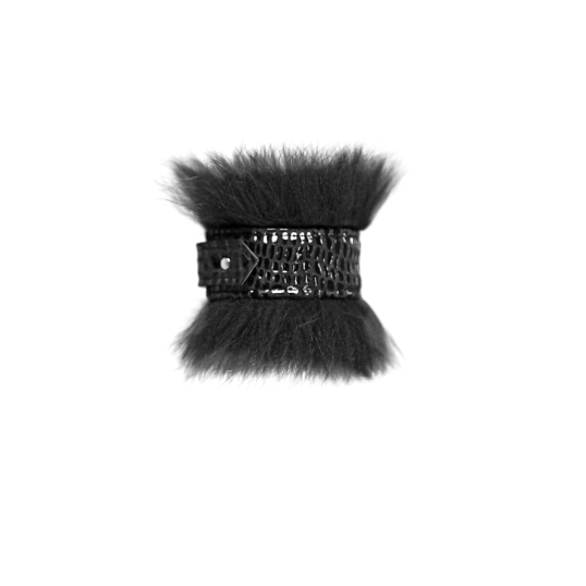 Vawk Lizard Embossed Cuff with Fox Fur