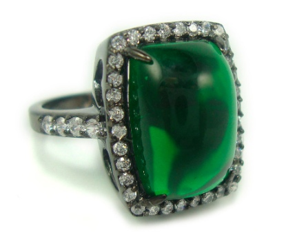 Lanciani sterling green stone ring