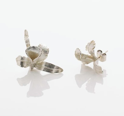 Clara Saldarriaga Silver Orchid Earrings