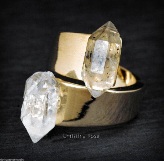 Christina Rose Herkimer Diamond wrap ring