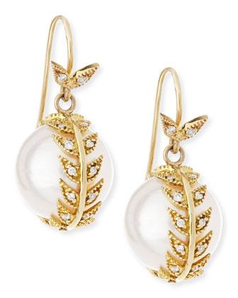 Mizuki Diamond Feather Wrap Pearl Earrings