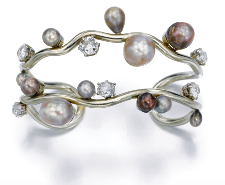 Darde + Sons Diamond and Pearl Bangle