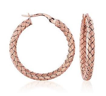 Roberto Coin woven rose gold hoop earrings