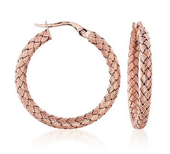 Roberto Coin woven rose gold hoop earrings