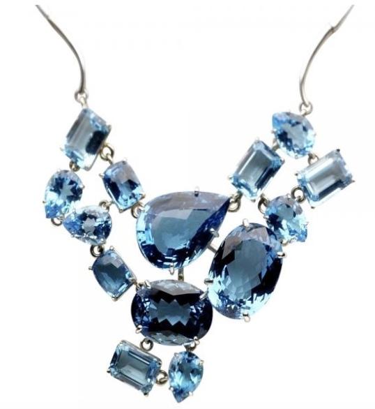 Strawberry Wood blue topaz necklace