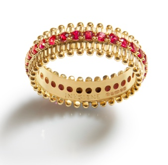 Inesiene Yellow Gold Pollen Ring with Rubies