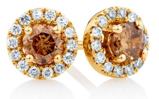 Michael Hil Champagne Diamond Stud Earrings