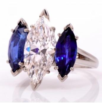 Oscar Heyman Diamond and Sapphire Ring