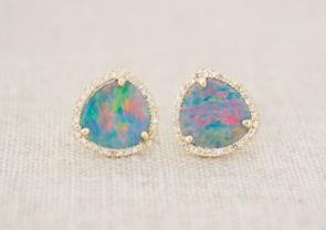 Pave Opal Halo Studs