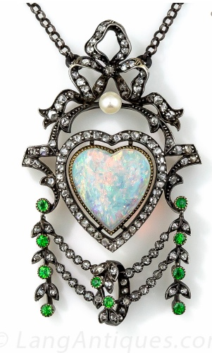 Antique Opal Diamond Demantoid Garnet Necklace