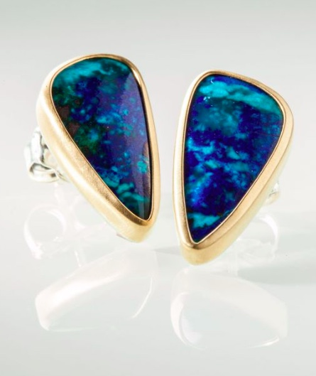 Greig Porter Azurite Gold Silver Earrings