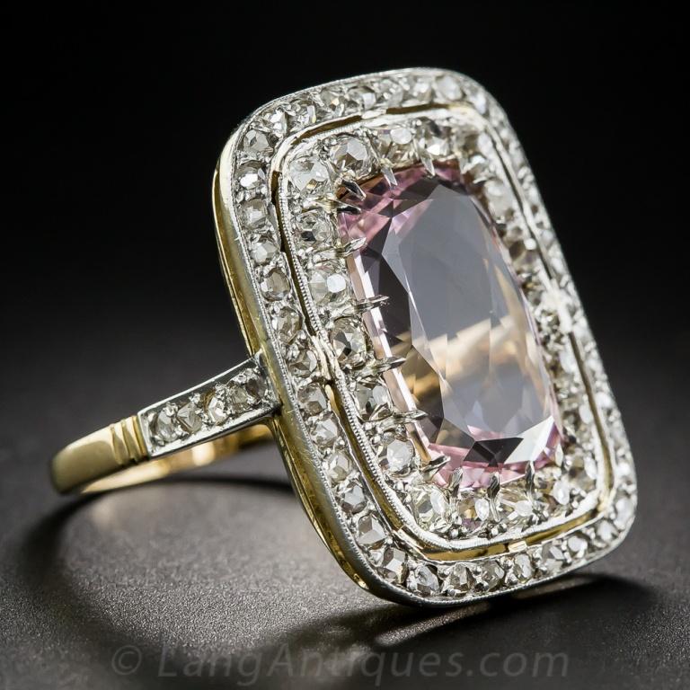 Lang Antiques Morganite and Diamond Ring