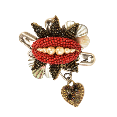 Miriam Haskell Red Lip Pin