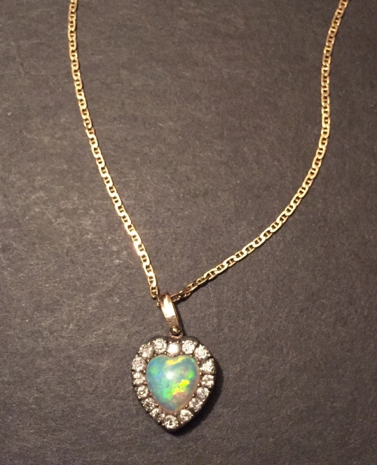 Opal diamond heart pendant