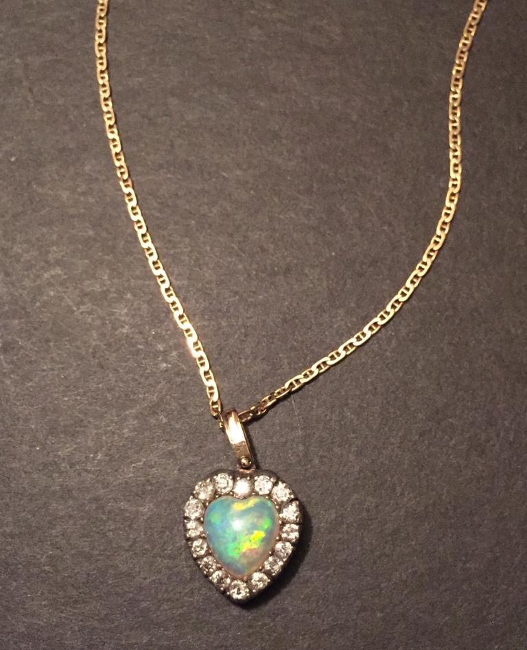 Opal diamond heart pendant