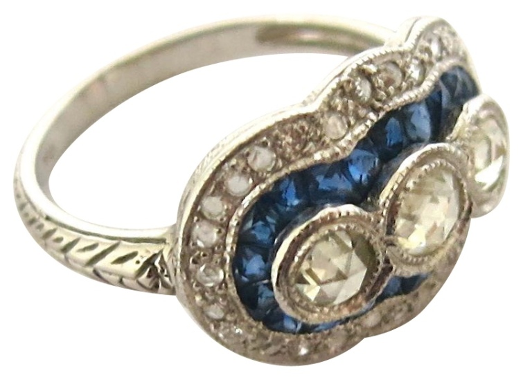 The Pearl Antiques Sapphire and Diamond Ring