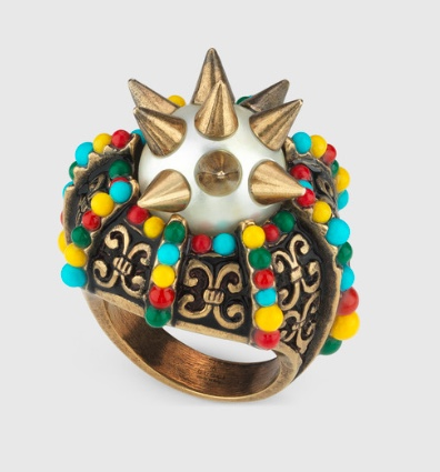 Gucci Ring with spikes and beads