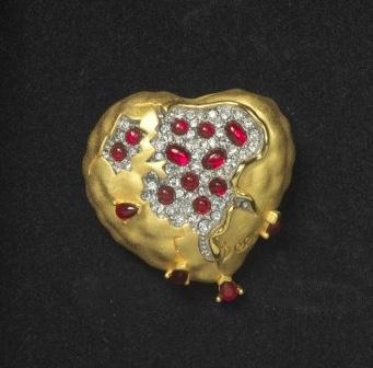 Salvador Dali Pomegranate Heart Brooch