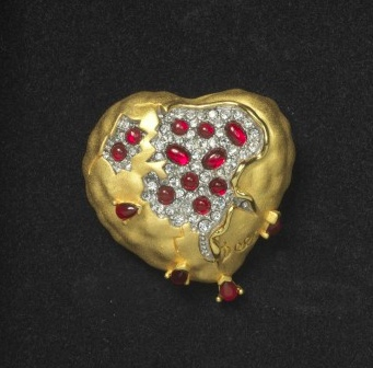 Salvador Dali Pomegranate Heart Brooch