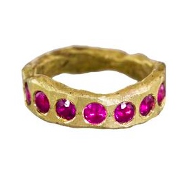 Disa Alsopp Chunky Gold and Ruby Band
