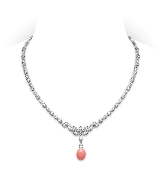 Mikimoto Conch Pearl and Diamond Necklace