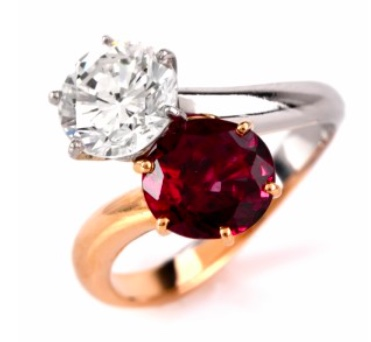 Vintage French Diamond Ruby Bypass Ring