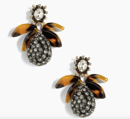 J Crew Pave Drop Earrings