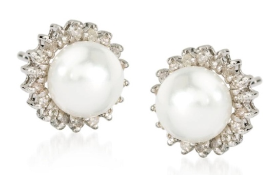 Ross Simons Pearl and Diamond Earrings