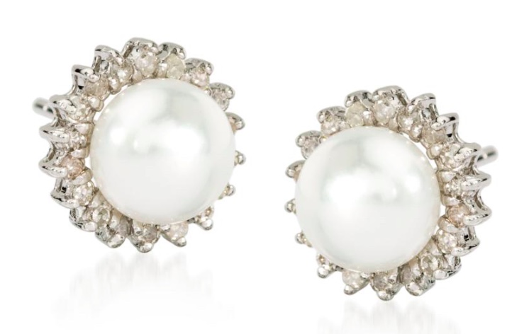 Ross Simons Pearl and Diamond Earrings