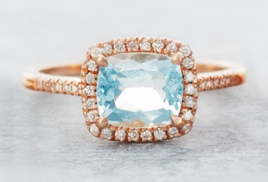 Lunessa Aquamarine and Diamond Halo Ring